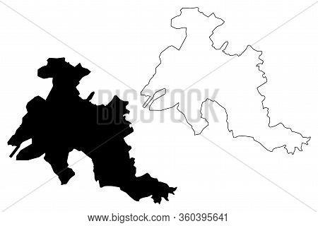 Denizli City (republic Of Turkey, Aegean Region) Map Vector Illustration, Scribble Sketch City Of De