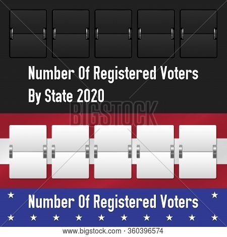 Mechanical Counter. Number Of Registered Voters By State. The Us Presidential Election 2020. America