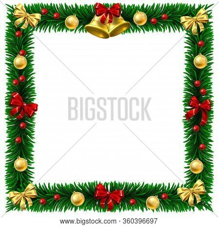 Square Christmas Tree Wreath Border Frame Decoration Festive Design Background With Bauble Balls Han