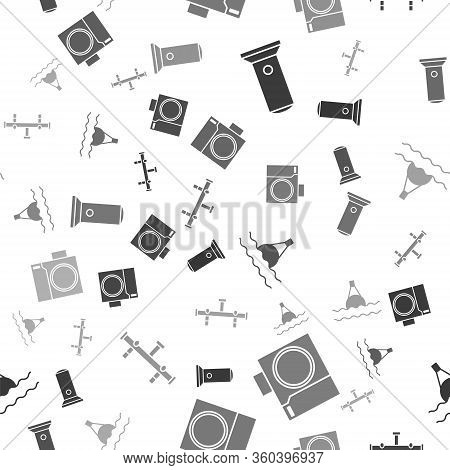 Set Flashlight, Photo Camera For Diver, Floating Buoy On The Sea And Manifold On Seamless Pattern. V