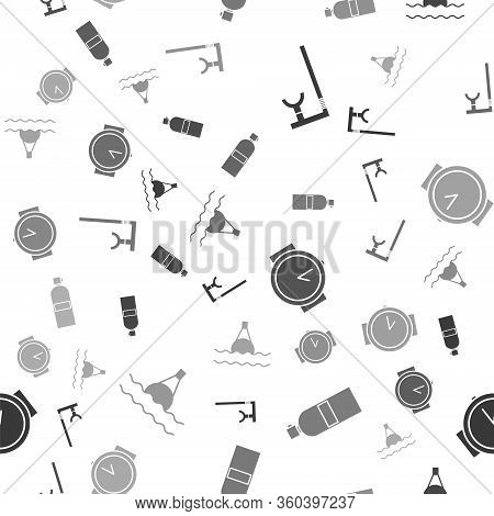 Set Snorkel, Aqualung, Diving Watch And Floating Buoy On The Sea On Seamless Pattern. Vector
