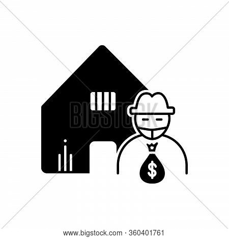 Black Solid Icon For Theft-vandalism Theft  Vandalism Building Robbery Robber