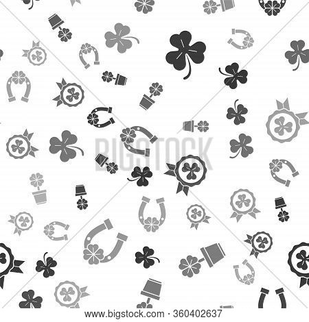 Set Four Leaf Clover, Four Leaf Clover In Pot, Medal With Four Leaf Clover And Horseshoe With Four L