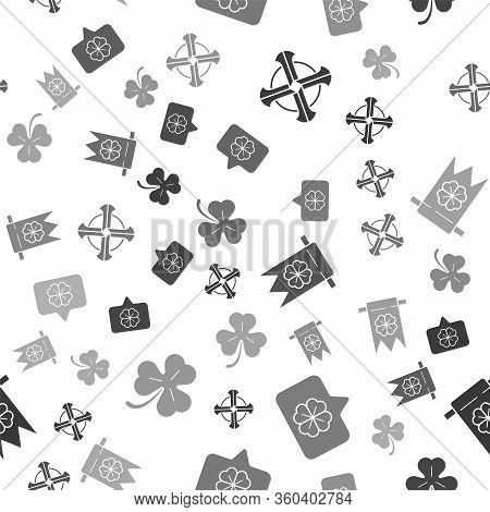 Set Celtic Cross, Four Leaf Clover In Speech Bubble, Four Leaf Clover And Party Pennant And Four Lea