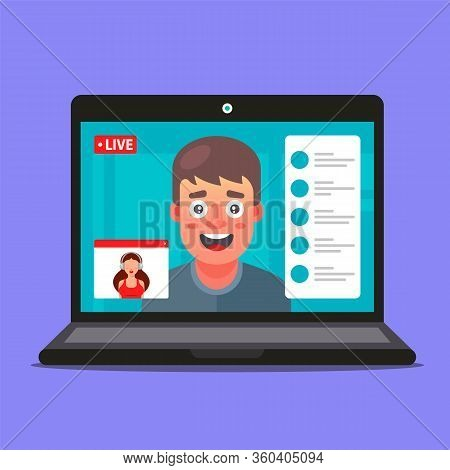Video Conference Of A Girl And A Guy. Remote Office Work. Business Negotiations. Flat Vector Illustr