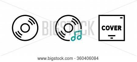 Set Of Flat Music Disc Icon. Editable Vector Stroke.