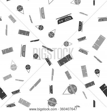 Set Electronic Scales, Ball Tea Strainer, Refrigerator And Knife On Seamless Pattern. Vector