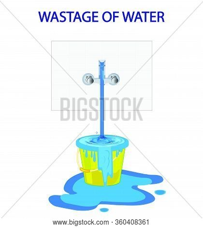 Wastage Of Water Theme. Wastage Of Water From Running Tap As Bucket Is Overflow With The Water. Wast