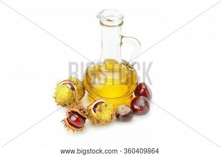 Fruit And Oils Chestnuts Isolated On A White Background.