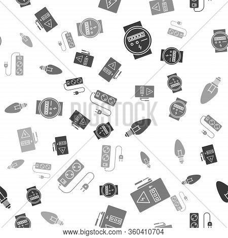 Set Electric Meter, Electrical Panel, Light Bulb And Electric Extension Cord On Seamless Pattern. Ve