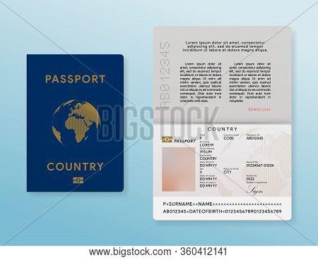 International Passport Template. Traveler Id Card Mock Up. Personal Data Document. Foreigner Pass. R