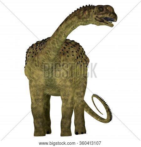 Uberabatitan Dinosaur Over White 3d Illustration - Uberabatitan Was A Herbivorous Sauropod Dinosaur