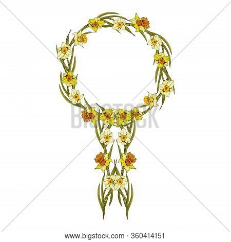 Beautiful Yellow Floral Female Symbol Of Venus As A Female Sign. Womens Rights. Womens Day.
