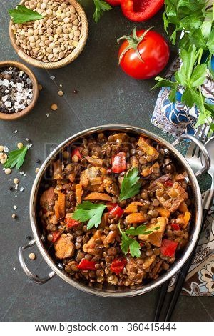 Indian Food, Authentic Indian Dish. Traditional Indian Spicy Green Lentils With Meat, Spices, Herbs