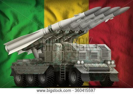 Tactical Short Range Ballistic Missile With Arctic Camouflage On The Mali Flag Background. 3d Illust