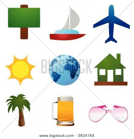 poster of Travel icons vector on white background wallpaper