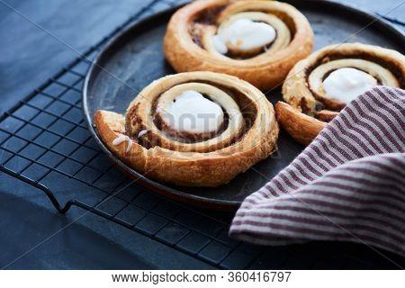 Freshly baked cinnamon pastry rolls