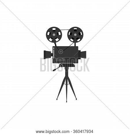 Set Of Old Movie Cinema Projectors On A Tripod. Hand-drawn Sketch Of An Old Cinema Projectors In Mon