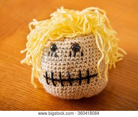 Weird Creepy Handmall Doll Head From Yarn