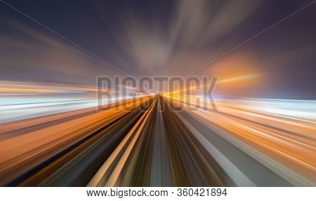 Train View. Blurry Speed Motion On Railway Tunnel For Futuristic Network Connection Technology, Digi