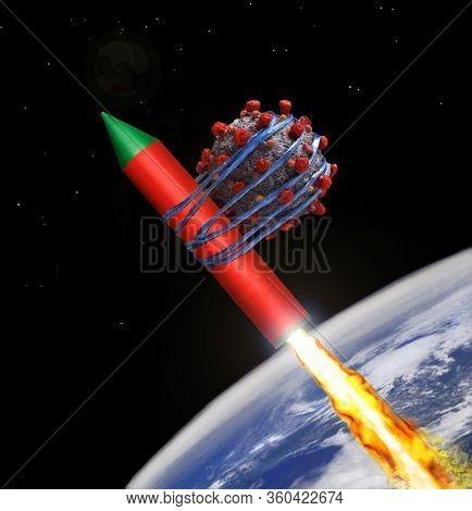 Coronavirus molecule tied on space rocket to expel it away from earth