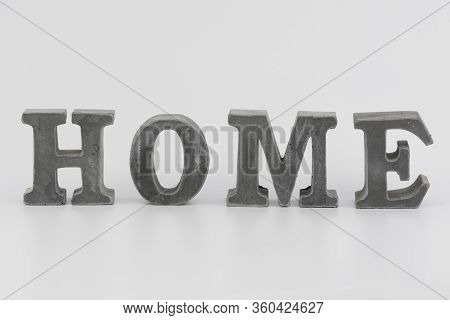 Word Home With Decorative Letters On White Background