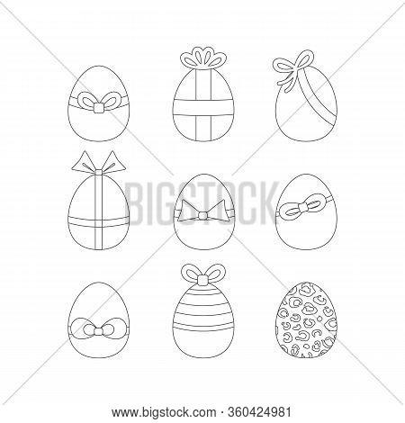 Easter Egg Outline Icon Set Vector Illustration Isolated On A White Background .easter Element Desig