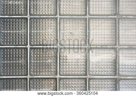 Pattern Of Glass Block Wall. Window Is Made Of Transparent Glass Bricks.