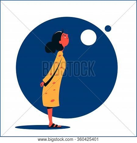 A Girl In A Yellow Dress Looks Up With Her Hands Clasped Behind Her Back. Flat Vector Illustration.