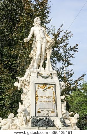 The Marmor Statue Of The Great Musician Wolfgang Amadeus Mozart At Burggarten, Vienna, Austria (buil