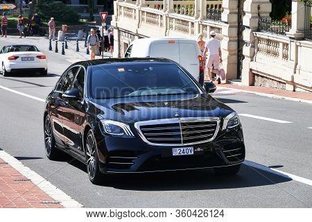 Monte-carlo, Monaco - September 12, 2019: Luxury Premium Car Mercedes-benz S-class (w222) In The Cit