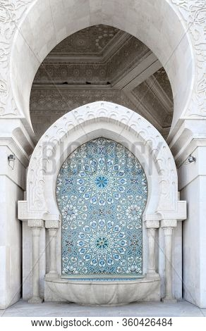 Architectural detail of the The Hassan II Mosque, Casablanca. It is the largest mosque in Morocco and the third largest mosque in the world