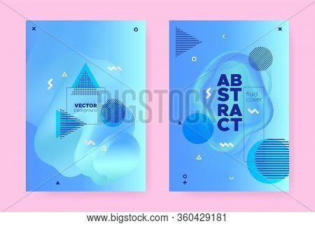 Blue Abstract Memphis Background. Modern Fluid Shapes. Wave Pattern. Vibrant Business Magazine. Abst