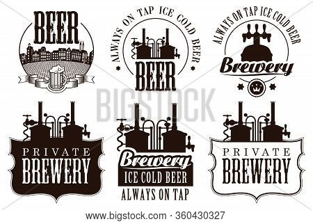 Set Of Vector Logos, Badges, Labels And Design Element On The Theme Of Beer And Brewery. Vintage Cra