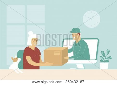 Online Shopping And Fast Delivery Concept. Instant Shipping. Courier Give Cardboard Box From Compute