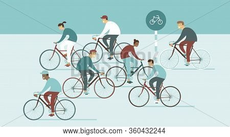 Large Group Of Young People Riding Bicycles On Busystreet. Sports Outdoor Activity. Flat Vector Ill