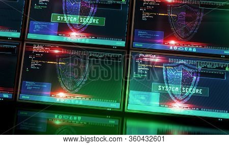 Cyber Security Message With Shield Symbol On Futuristic Computer Screen With Glitch Effect. System S