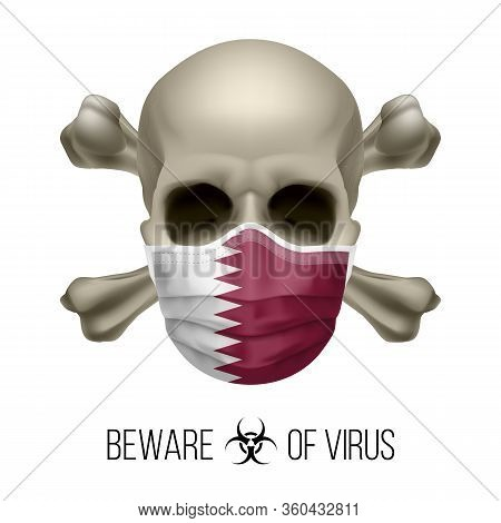 Human Skull With Crossbones And Surgical Mask In The Color Of National Flag Qatar. Mask In Form Of T
