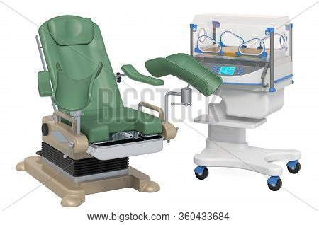 Gynecological Examination Chair With Neonatal Incubator, 3d Rendering Isolated On White Background