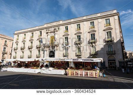 Catania, Sicily - February 12, 2020: Building Of Universita Degli Studi In Catania, Sicily, Italy Wi