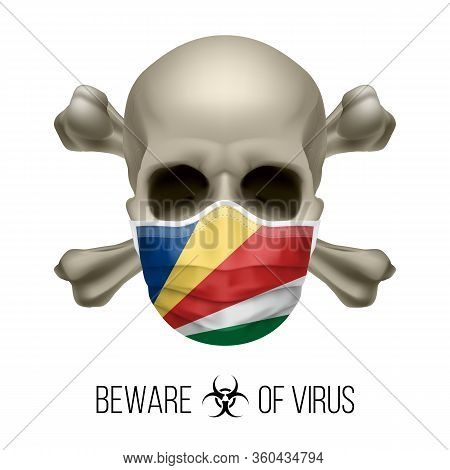 Human Skull With Crossbones And Surgical Mask In The Color Of National Flag Seychelles. Mask In Form