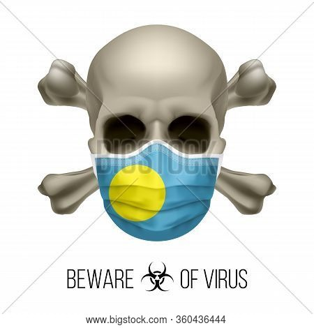 Human Skull With Crossbones And Surgical Mask In The Color Of National Flag Palau. Mask In Form Of T