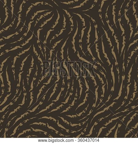 Vector Seamless Texture. Pattern Of Heterogeneous Ragged Lines Of Beige Color Isolated On Brown Back