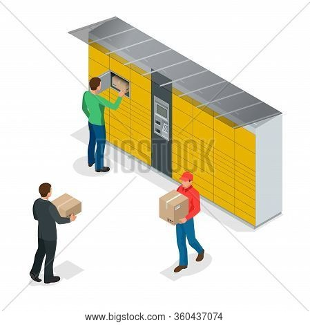 Isometric Pack Station. The Chain Of Autonomous Postal Points For Self-receipt And Sending Of Postal
