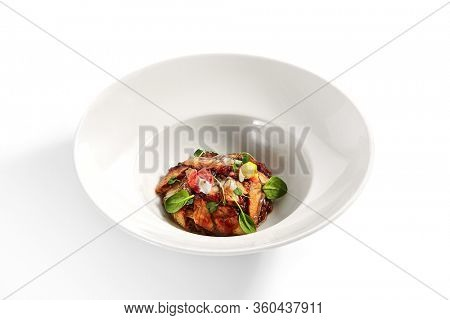 Eel in teriyaki sauce. Served Japanese unagi fish. Seafood Asian restaurant food with herbs decoration. Marine delicacy, gourmet meal with soy, sake and sugar traditional sauce. Japan cuisine