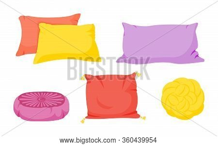 Colored Pillow Flat Cartoon Set. Home Interior Textile. Pillows Square, Knot With Tassels, Pillow Po