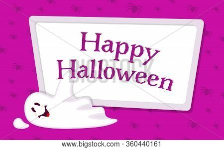 Happy Halloween Empty Banner With Ghost Cartoon. Purple Background Holiday Spooky Template, Template
