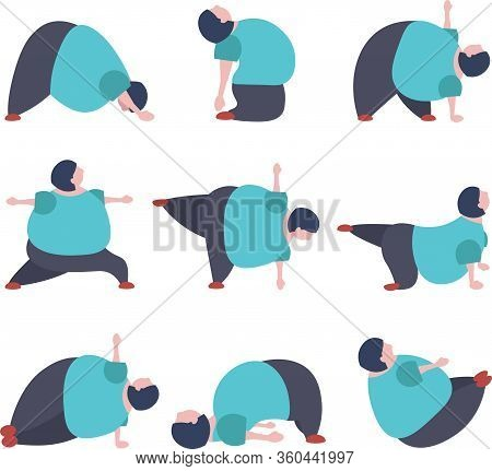 Set Of Funny Fat Woman Doing Yoga Exercises
