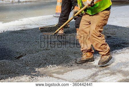Fresh Asphalt Construction Street Resurfacing Industrial Laying Asphalt On New Road Construction Sit