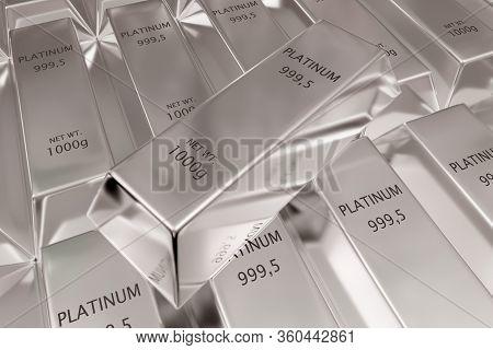 Single Platinum Ingot On Stacked Rows Of Shiny Platinum Ingots Or Bars Background - Precious Metal O